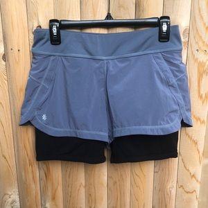 Athleta Gray Ready Set 2 in 1 Compression Shorts